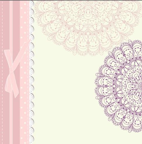 Retro Pink Invitation Card Cover Design Elements Vector 03