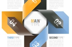 Colored Number Origami Vector Labels 03