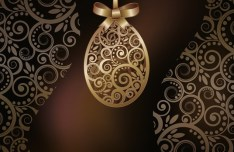 High Quality Golden Happy Easter Vector Background 01