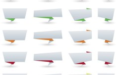Set of Simple Blank Origami Vector Labels 01