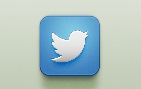 Glossy PSD Twitter App Icon For iOS