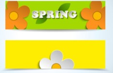 Set of Cartoon Spring Flower Banners 01