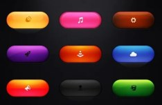 Colored Rounded Web Button PSD Template