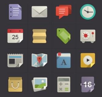 16 Flat Origami Web Icons