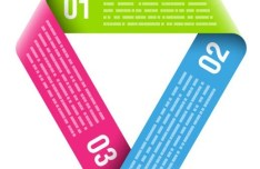 Colored Data Origami Vector Labels For Infographic 01