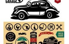Set of Vector Vintage Garage Labels 01