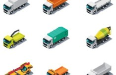 Vector Cartoon Trucks and Engineering Vehicles