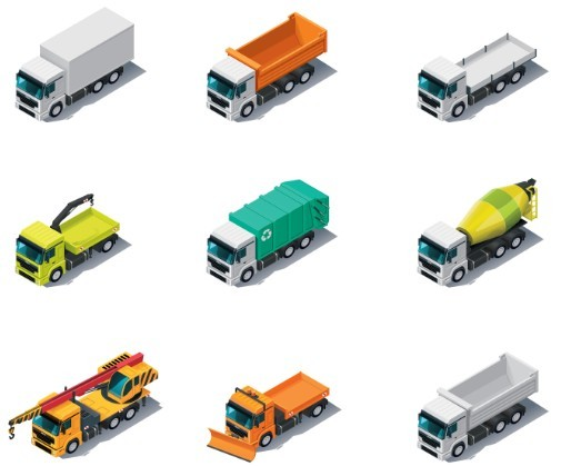 Vector Cartoon Trucks and Engineering Vehicles