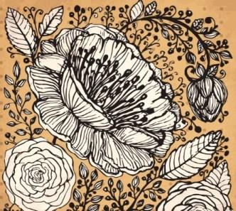 Vintage Dark Hand Drawn Vector Flowers 03