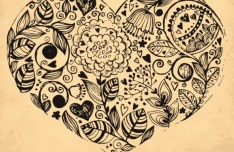 Vintage Dark Hand Drawn Vector Flowers 04