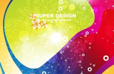 Retro Brightly Colored Abstract Vector Background 04