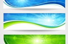 Vector Bright Spring Banners with Wavy Curves And Sunshine Background 01