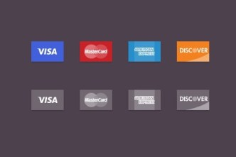 4 Flat Credit Card Icons PSD
