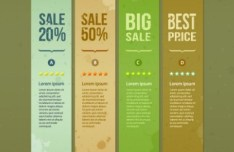 Creative Vector Sale Labels with Torn Paper Effect 01