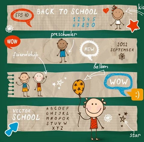 Cute Back To School Vector Banners 01