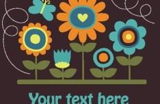 Cute Retro Flowers Vector Illustration 02