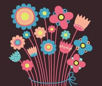 Cute Retro Flowers Vector Illustration 03