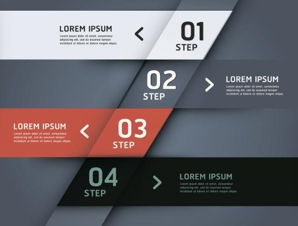 Stylish Infographic Origami Numeric Label Elements 01