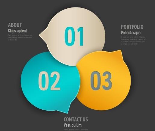 Stylish Infographic Origami Numeric Label Elements 06