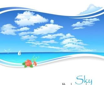 Vector Cartoon Sky Background 04