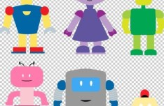 Vector Cute Cartoon Robots