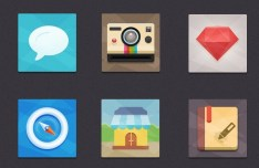 6 Flat and Colored App Icons PSD