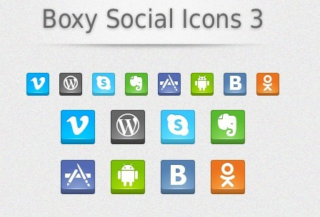 Boxy Social Icons Vol 3