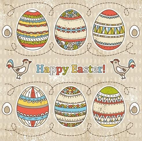 Colorful Easter Egg Background Vector 02