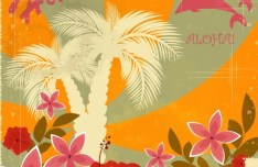 Retro Vintage Hawaii Tours Label Sticker