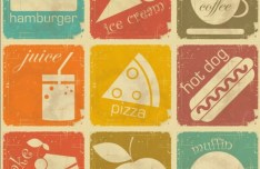 Set Of Vector Retro Vintage Food Icons