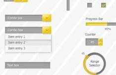 Tiny Yellow and Grey Web UI Kit PSD