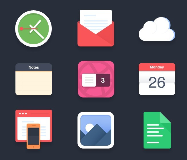 Calendar Notebook App : Free flat and colored app icon set psd titanui