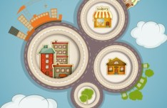 Vector Cartoon Little Town Infographic Elements