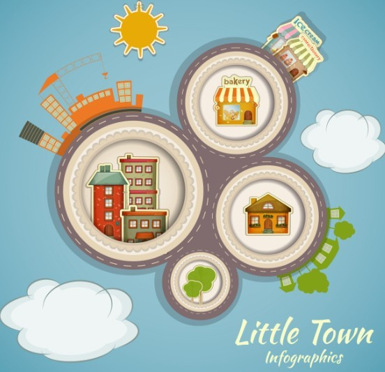 Vector Cartoon Little Town Infographic Elements