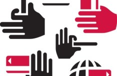 Black and Rose Red Gesture Icons Vector