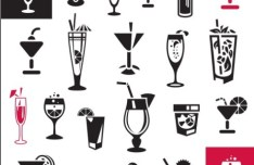 Black and White Juice Icons Vector