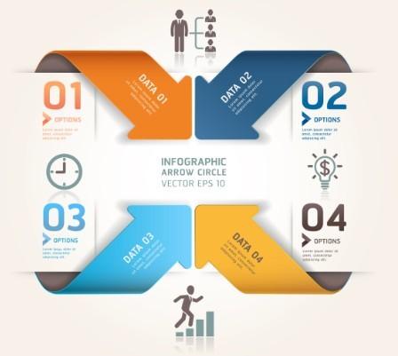 Vector Infographic Arrow Circle Elements 06