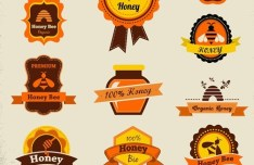 Vintage Honey Bee Badge Icons