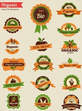 Vintage Origanic Food Badge Icons Vector