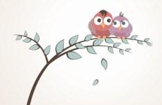 Cute Cartoon Birds Vector Illustration