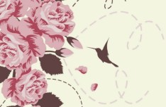 Retro Hand Drawn Flower and Bird Background Vector 03