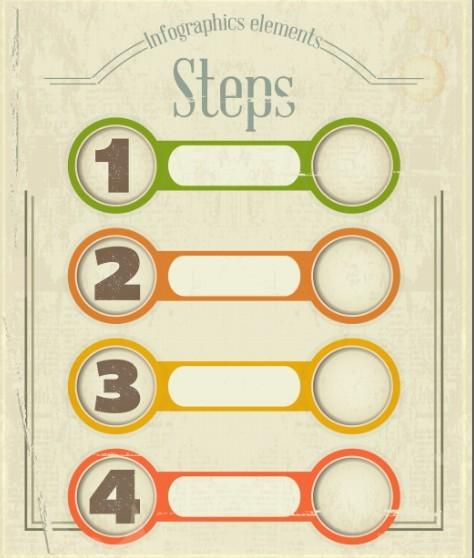 Vintage Infographic Step Option Elements Vector