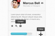 Grey User Profile Widget Interface PSD