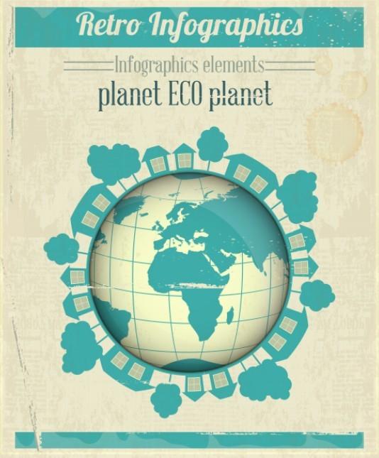 Retro ECO Planet Elements For Infographic Vector