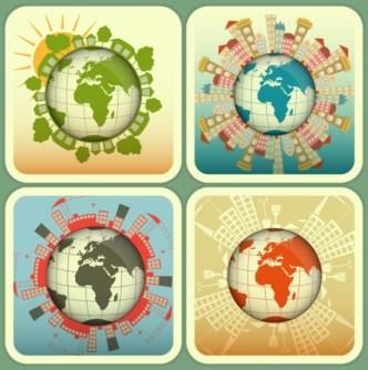 Retro Green Earth Concept Vector Labels