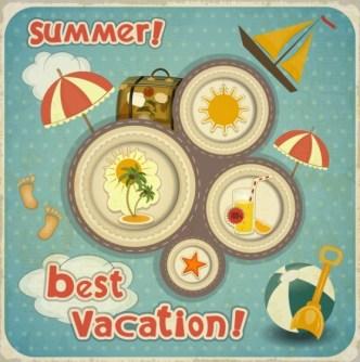 Retro Vector Summer Vacation Elements
