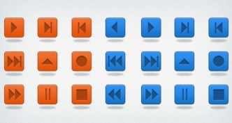 Orange and Blue Media Control Buttons PSD