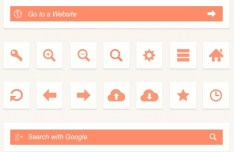 Orange Web Browser UI Elements PSD