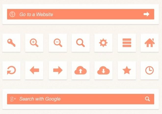 Orange Web Browser UI Elements PSD