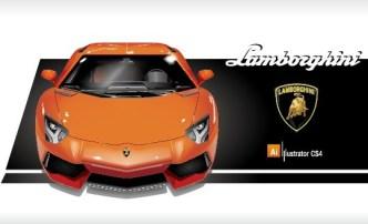 Vector Orange Lamborghini and Logo